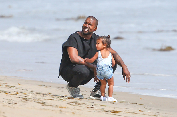 EXCLUSIVE Kanye West with Kim Kardashian and North Have a Family Day in Malibu